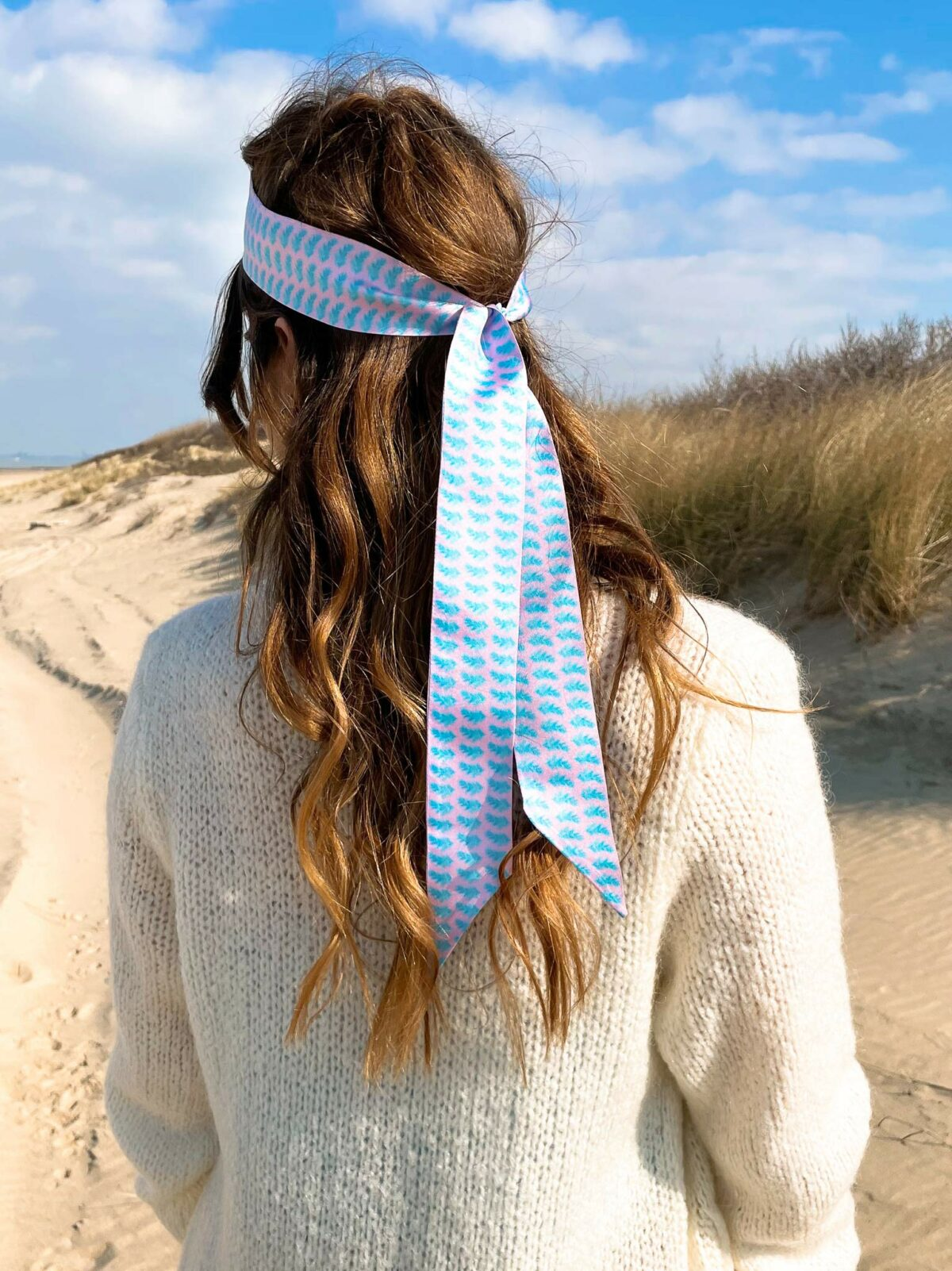 woman from behind with a blue ribbon in her hair