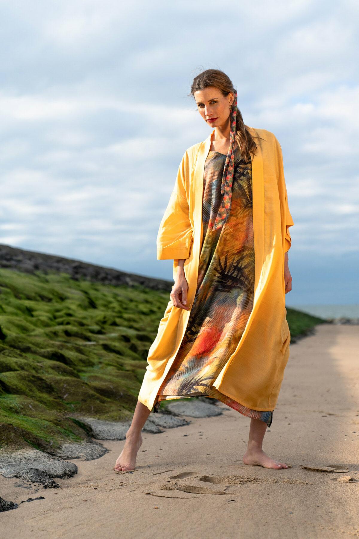 woman with yellow kimono