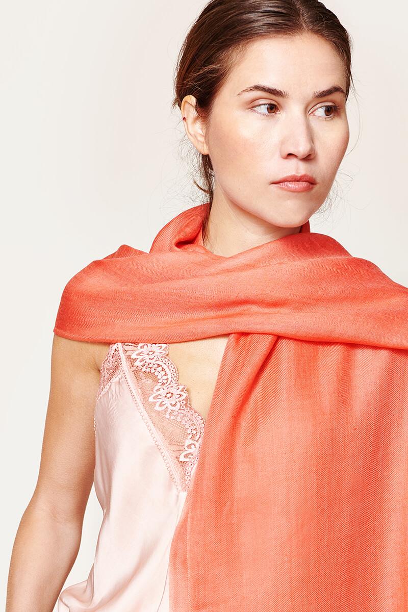 Soft Plain scarf coral