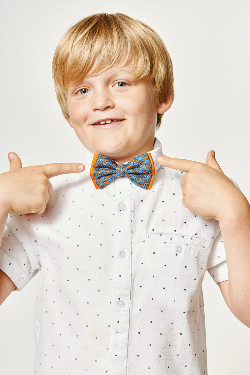 blue and orange bowtie for kids