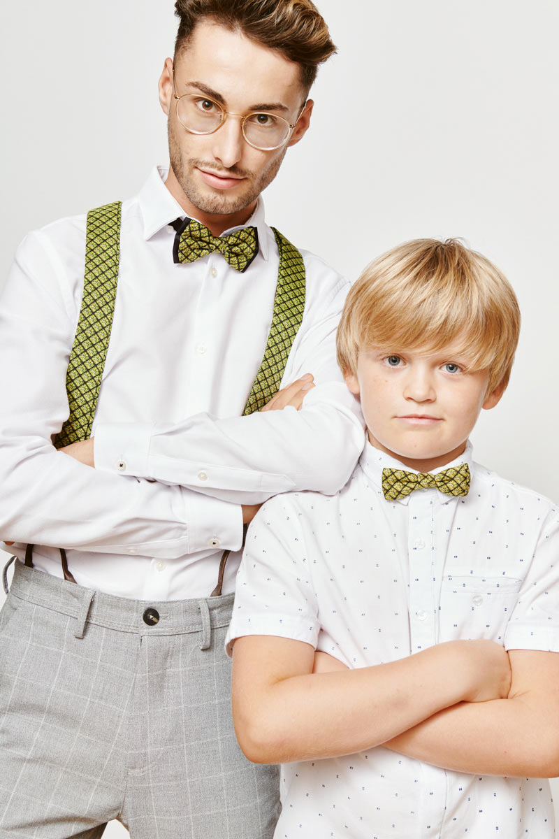 green bowtie for dad and son