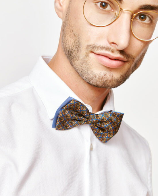 man with a brown bow tie