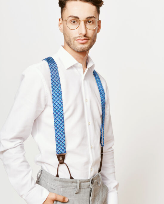 man with blue suspenders