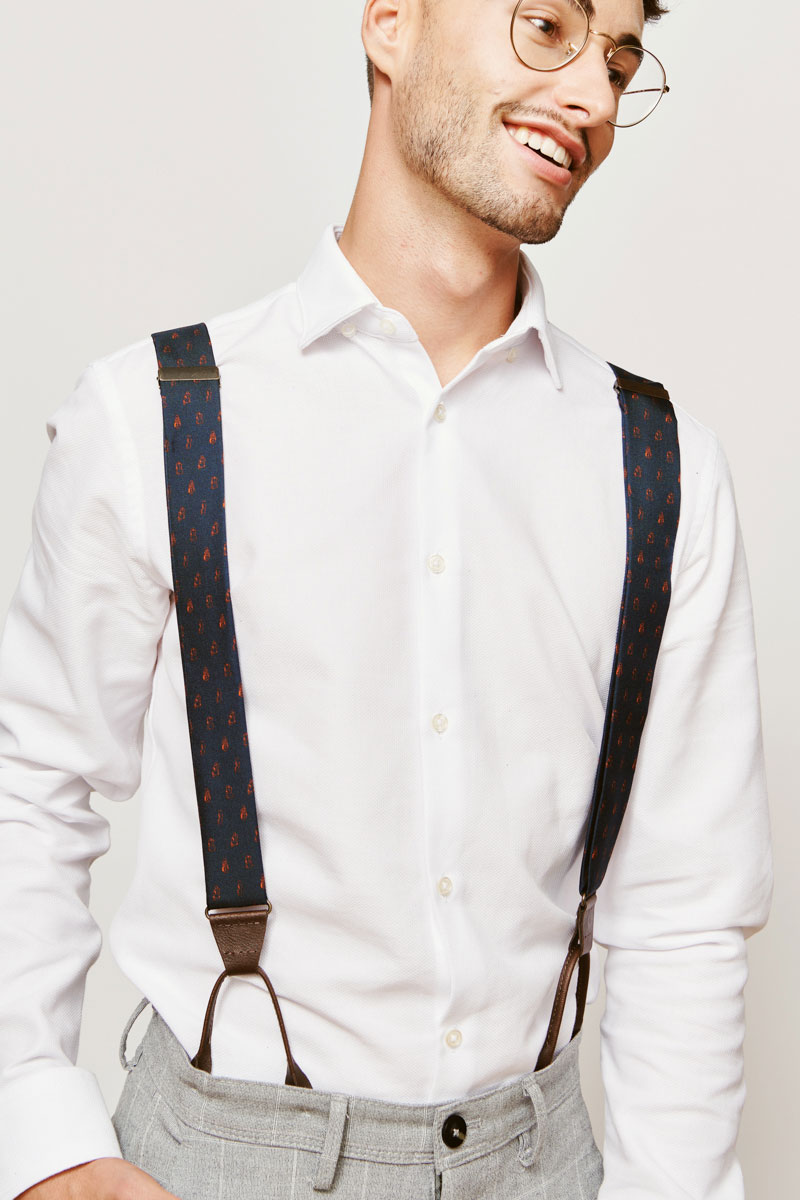 suspenders in blue and red for men