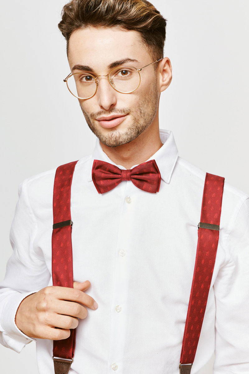 red suspenders and bowtie for men