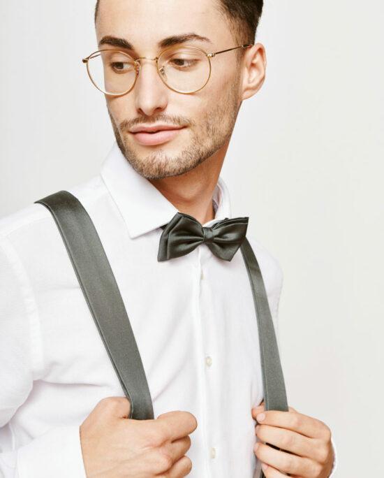 satin grey bowtie and suspenders for men