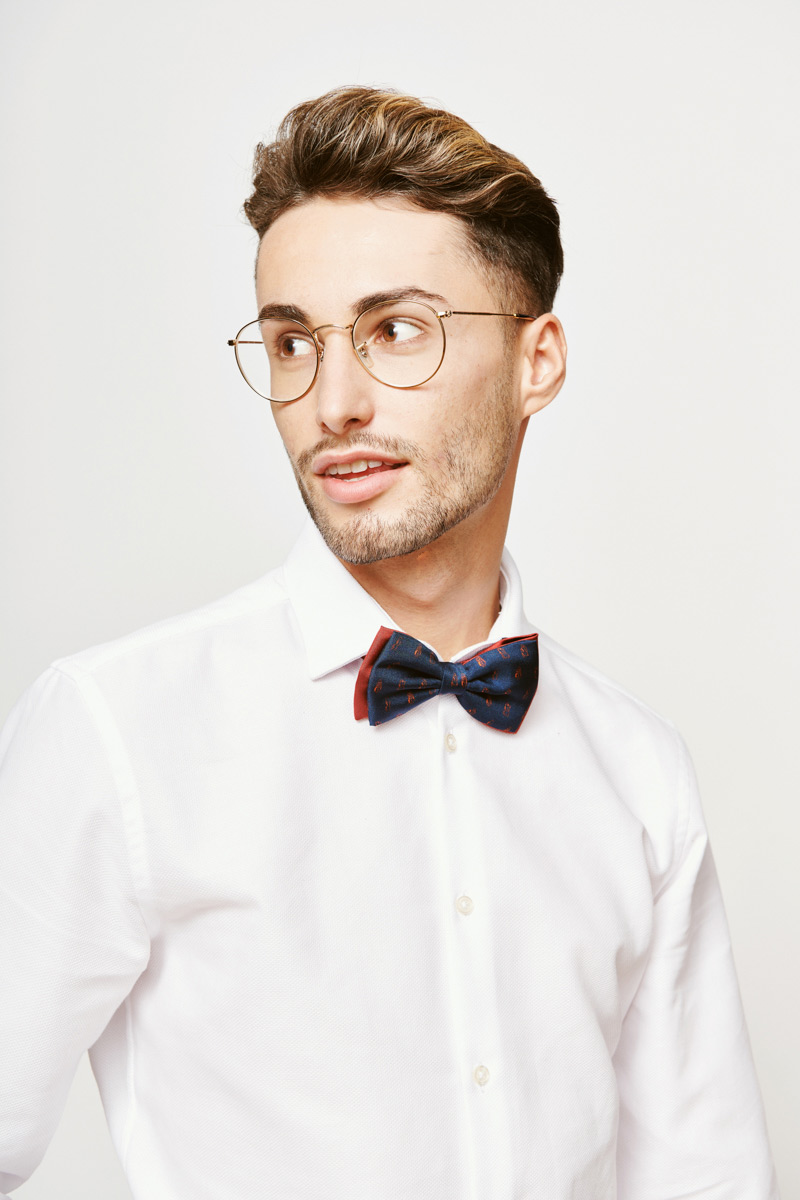 red and marine blue bowtie for men