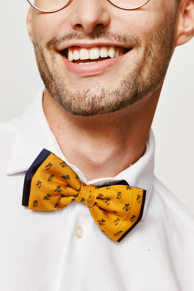 yellow and marine blue bowtie for men