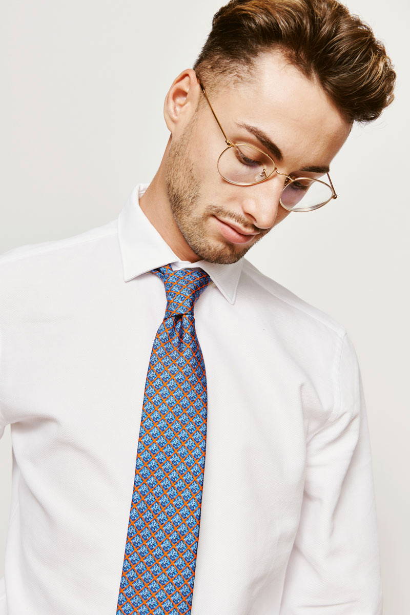 man with a blue tie
