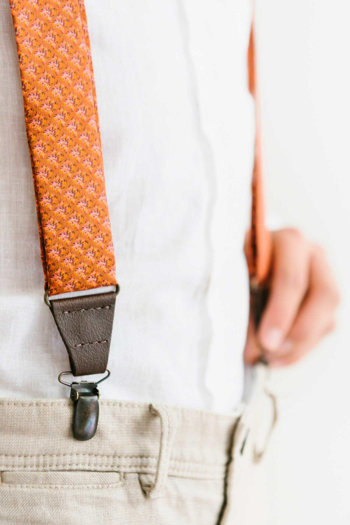 rusty orange suspenders for men