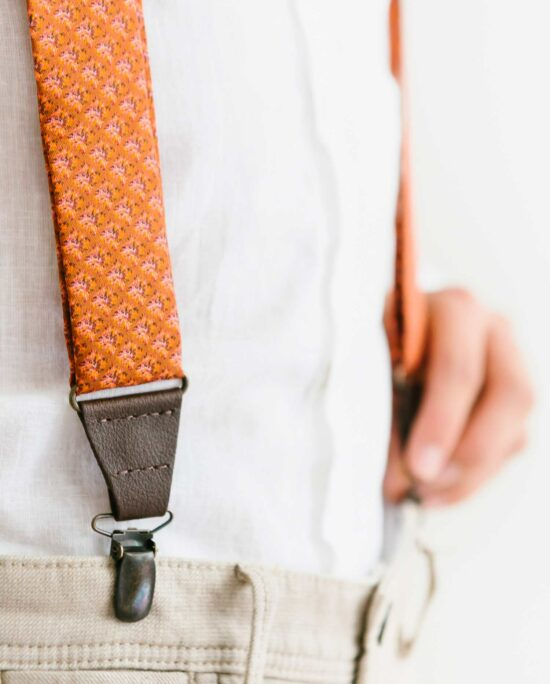 rusty orange suspenders for men