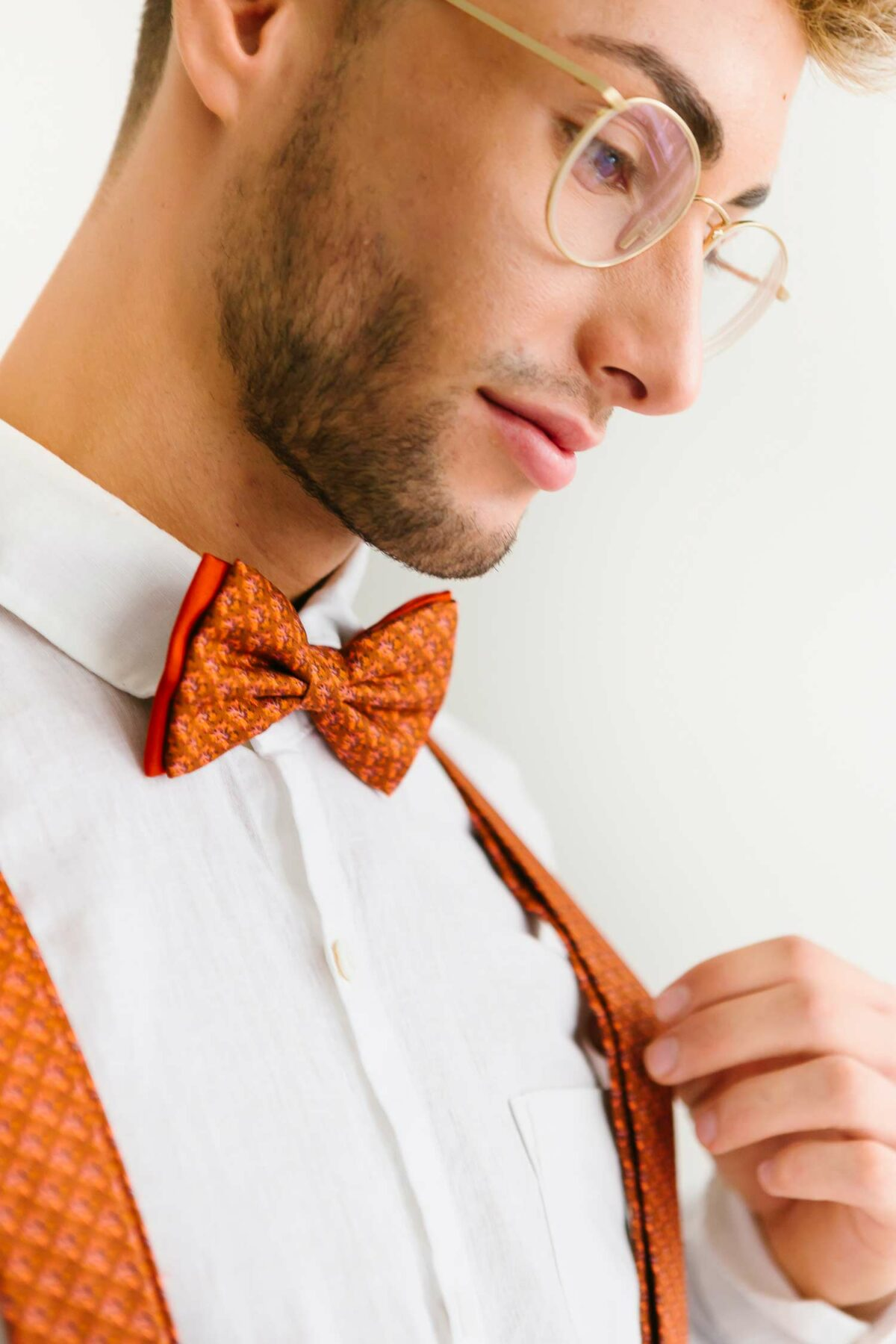 bow tie in rusty orange for men