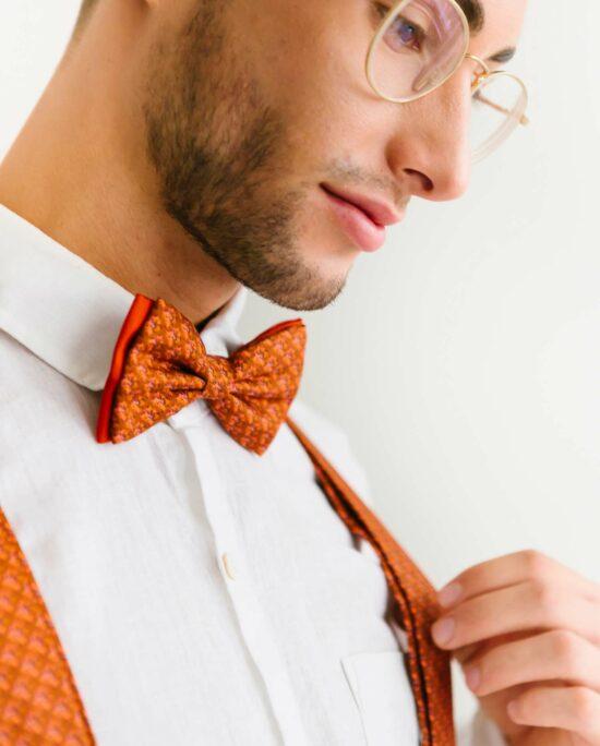 bow tie in rusty orange for men