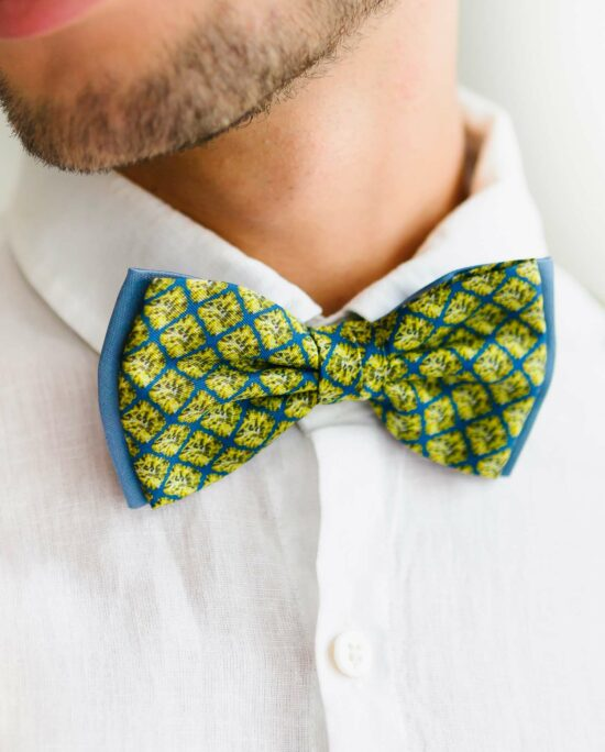 bow tie in blue and green for men