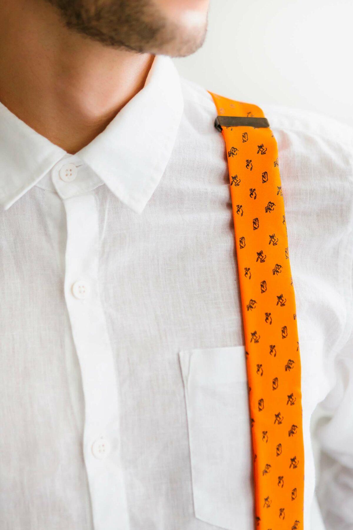 orange suspenders for men