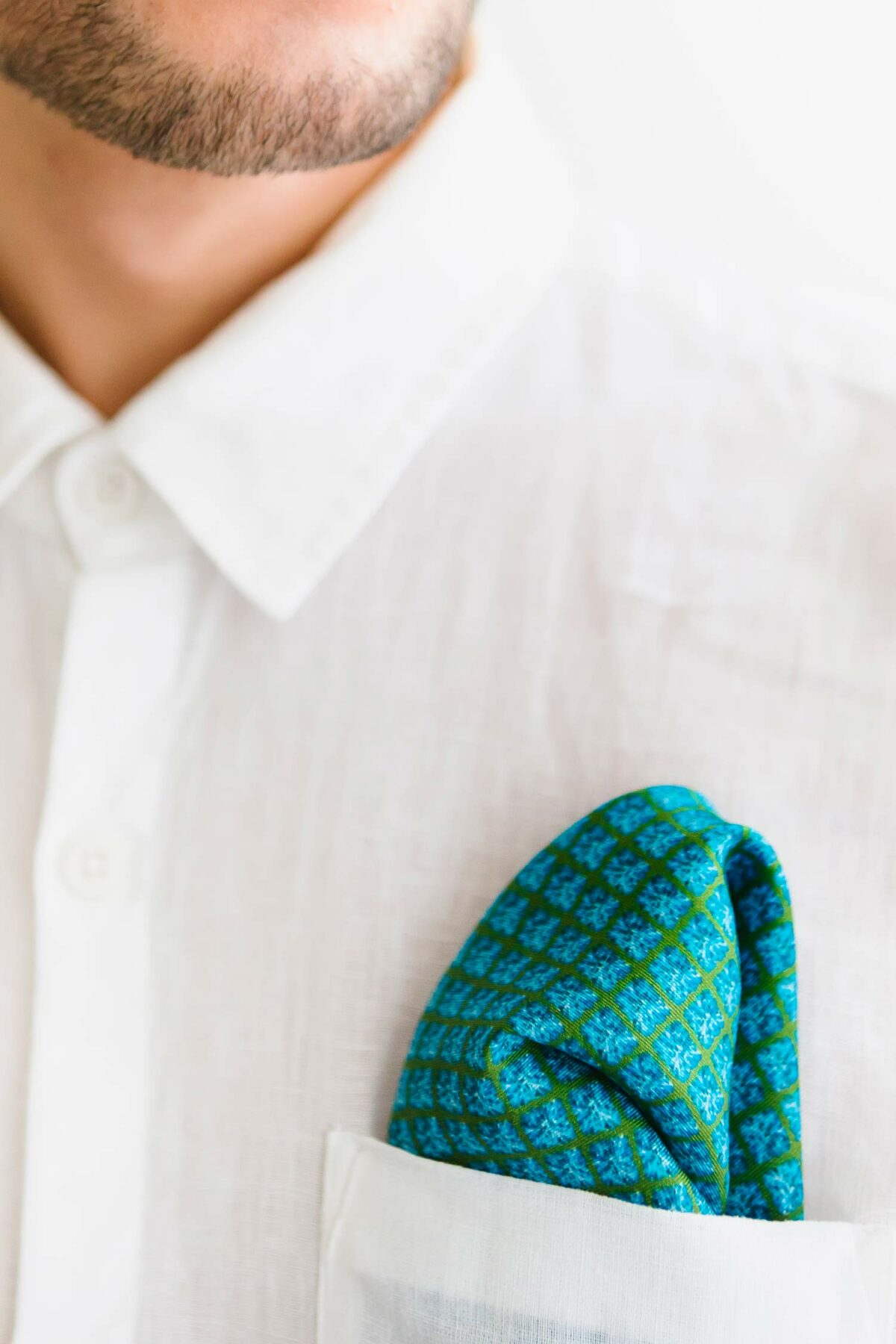 satin pocket square in blue and green for men