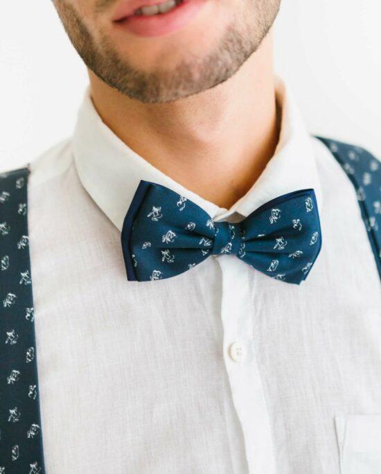 marine blue bowtie for men