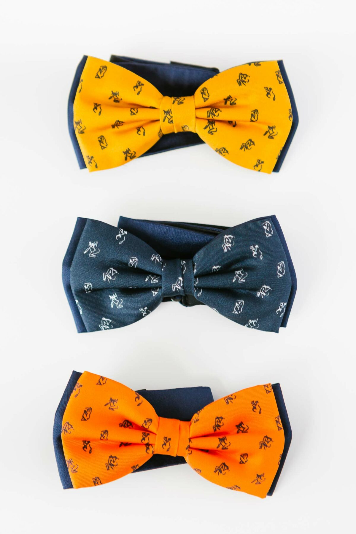 orange yellow and blue bowtie for men