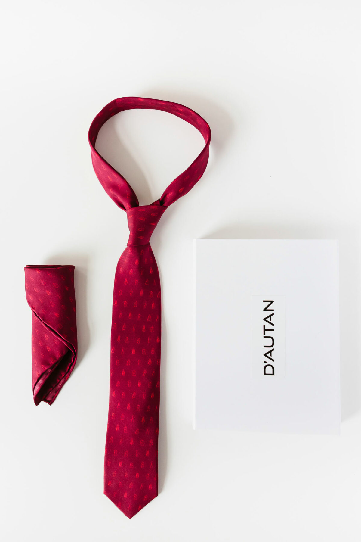red tie and red pocket square for men
