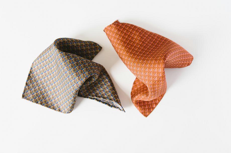 satin pocket square in rusty orange and brown for men