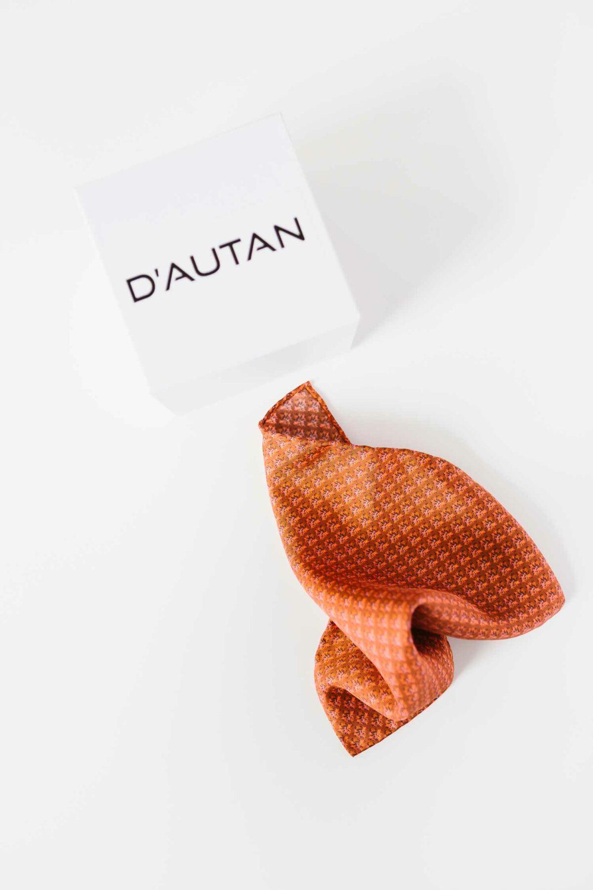 satin pocket square in rusty orange for men