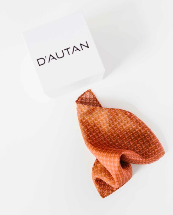 satin pocket square in rusty orange for men