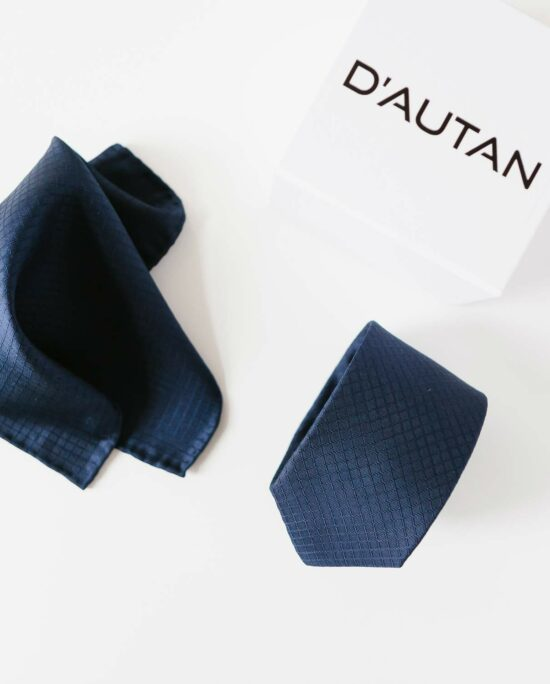 woven pocket square and tie in marine blue for men
