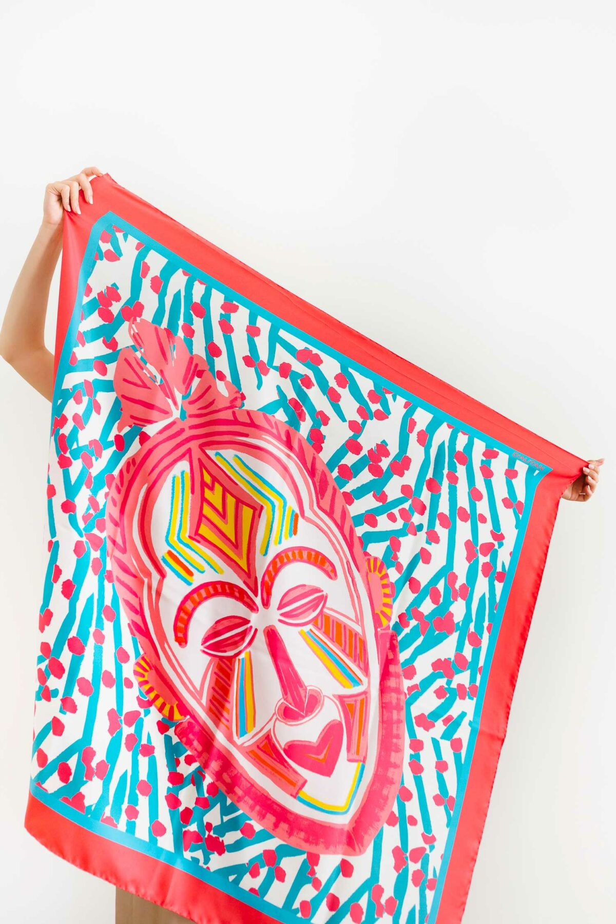 colourful scarf with a mask on it