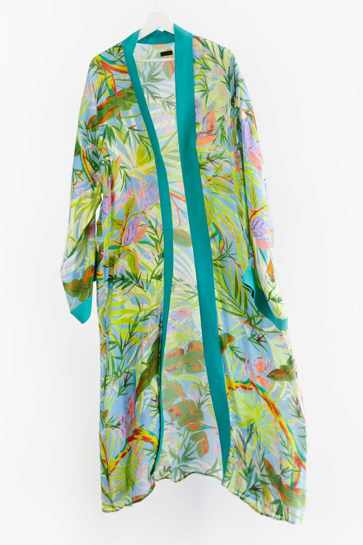 green colourful kimono