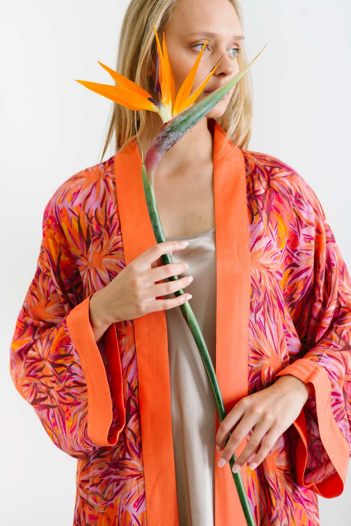 woman with an orange kimono