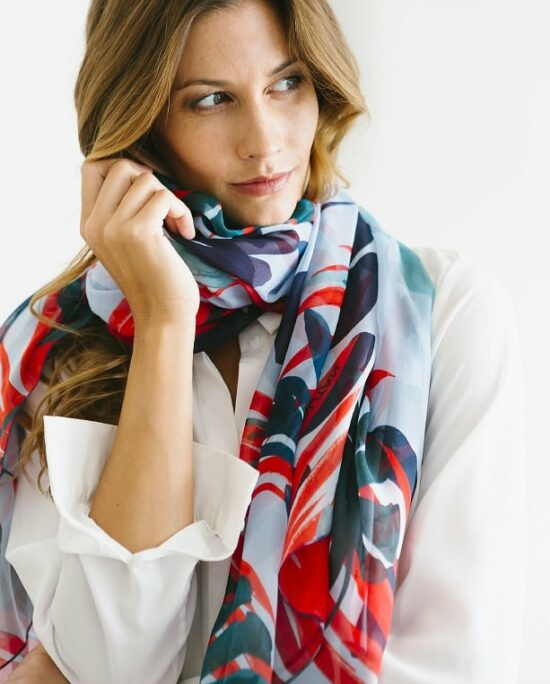 woman with a colourful scarf on her neck