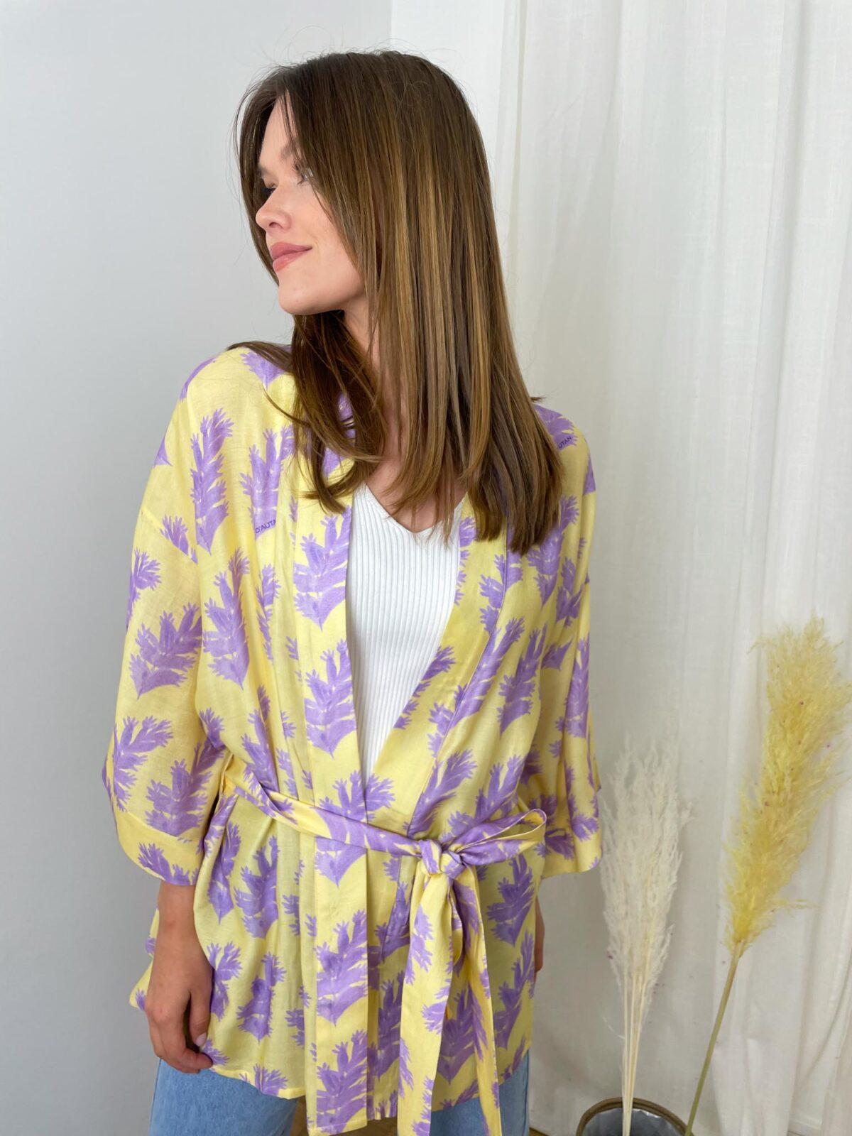 woman with a yellow kimono