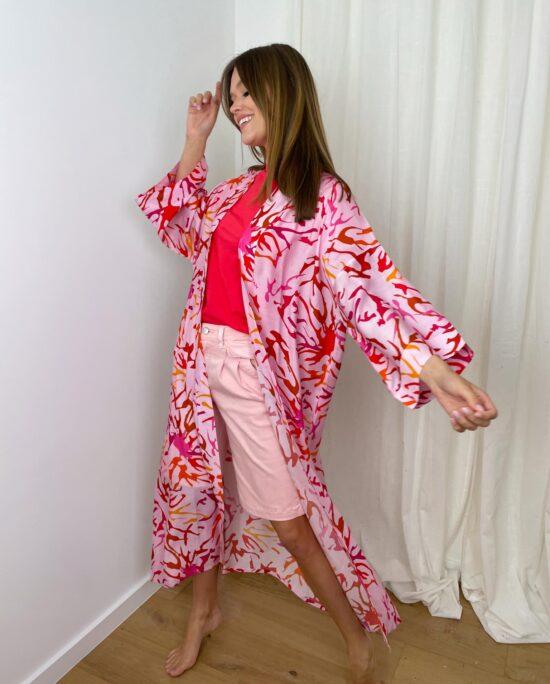 woman with a pink kimono
