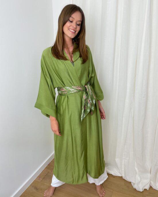 woman with a khaki kimono