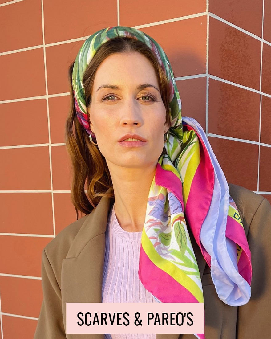 woman with a colourful scarf on her head