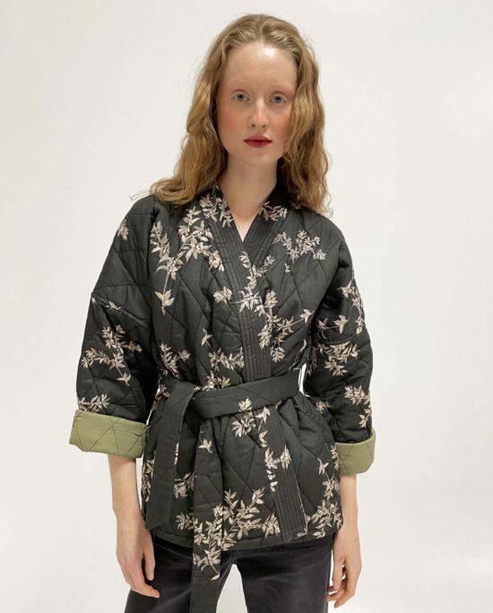 Quilted kimono neva coffee bean anthracite