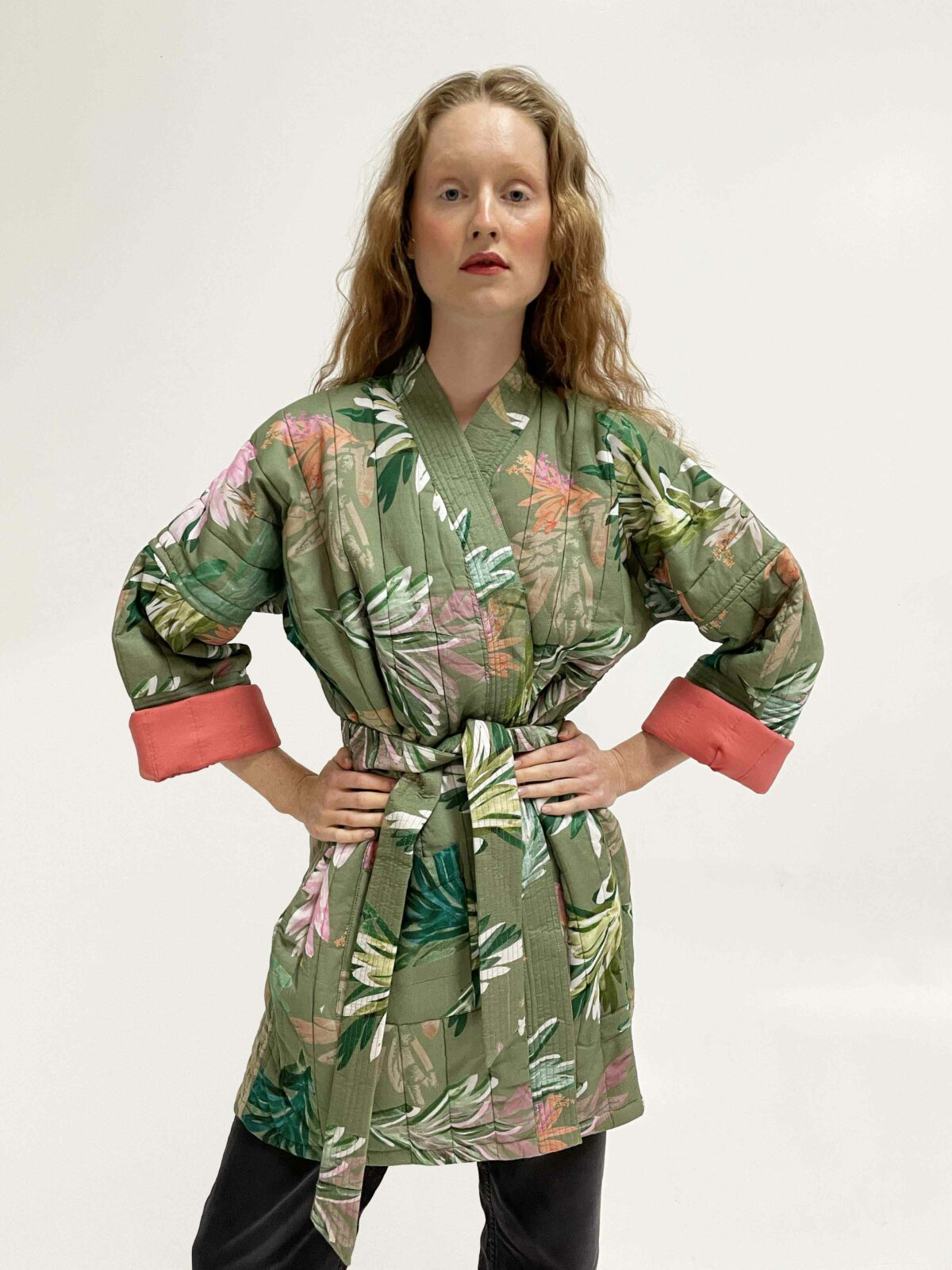 woman wearing Quilted Kimono Lumi Muted fall