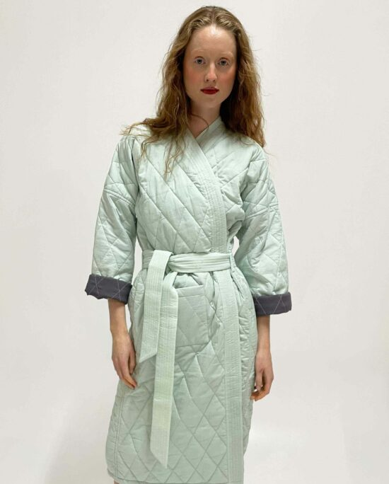 woman wearing quilted kimono demi sage mint