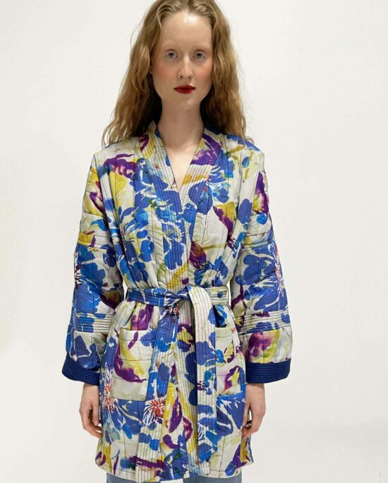 woman wearing quilted kimono lumi water flower blue
